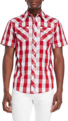 True Religion Plaid Western Short Sleeve Shirt