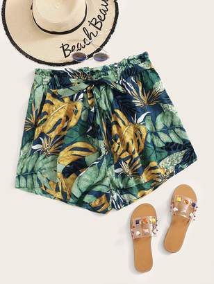 Shein Plus Paperbag Waist Self Belted Tropical Shorts