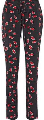 Markus Lupfer Printed Straight-Leg Washed-Silk Pants