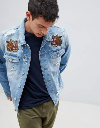 Jack and Jones Intelligence Denim Jacket With Embroidery Details