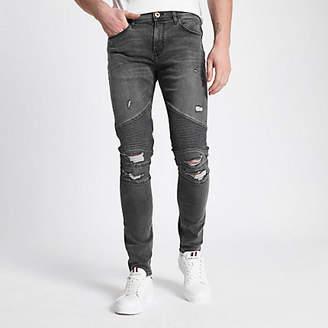 River Island Grey Danny super skinny ripped biker jeans
