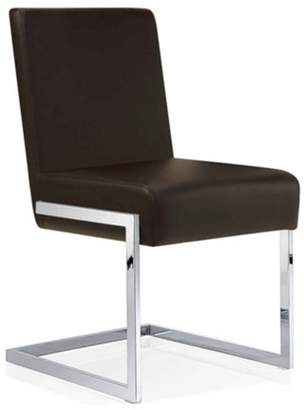 Baxton Studio Toulan Modern and Contemporary Black Faux Leather Upholstered Stainless Steel Dining Chair