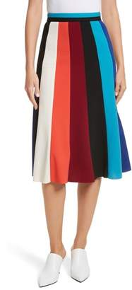 Tracy Reese Colorblock Stripe Flared Skirt