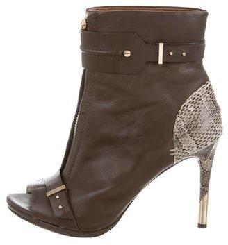 Rachel Roy Snakeskin-Trimmed Peep-Toe Booties $125 thestylecure.com