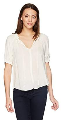 Velvet by Graham & Spencer Women's Yaritza Swiss dot Shortsleeve Blouse
