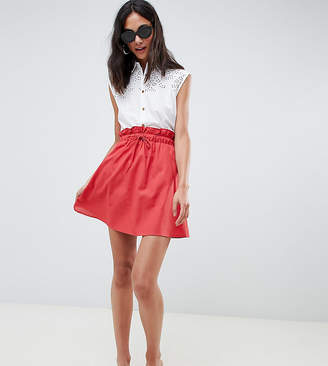 Asos Tall DESIGN Tall cotton mini skater skirt with pockets
