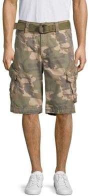 e442be1bcfe7ed Jet Lag Camouflage Belted Cotton Cargo Shorts