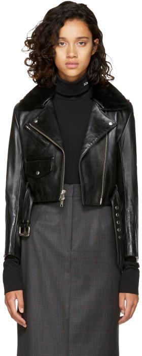 Calvin Klein 205W39NYC Black Leather Biker Jacket