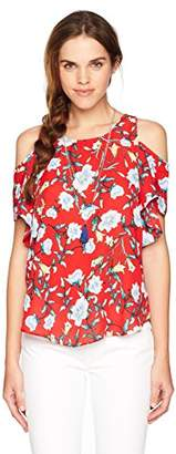 Amy Byer A. Byer Junior's Young Women's Teen Cold Shoulder Scoop Neck Ruffle Sleeve Top
