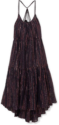 Ulla Johnson Samara Striped Lurex And Cotton-blend Midi Dress - Midnight blue