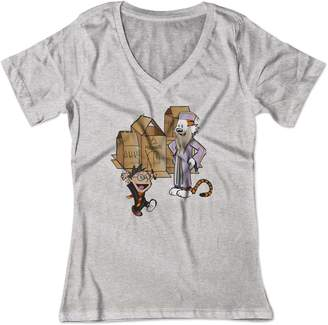 Lrg BSW Women's Calvin and Hobbes Harry Potter Hogwarts V-Neck