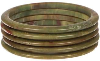 Green Swirl Bakelite Sliders Bangle Bracelet Set