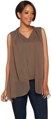 Halston H By H by V-Neck Layered Tank with Sharkbite Hem