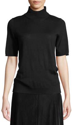 Eileen Fisher Mock-Neck Elbow-Sleeve Merino Wool Sweater