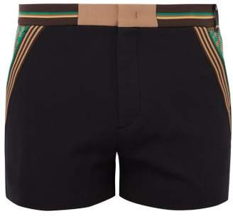 Fendi Stripe Trimmed Cotton Blend Shorts - Mens - Black Multi
