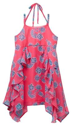 My Michelle mymichelle Floral Print Strappy Shoulder Ruffle Dress (Big Girls)