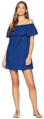 Lucky Brand Belle-Air Off the Shoulder Ruffle Dress Cover-Up Women's Swimwear