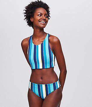 LOFT Beach Striped Reversible Racerback Bikini Top