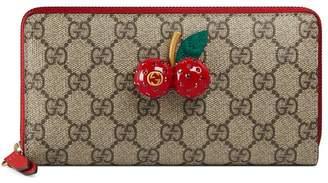 Gucci GG Supreme zip around wallet with cherries