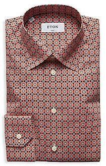 Eton Men's Slim-Fit Floral-Print Cotton Poplin Dress Shirt