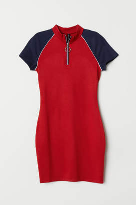 H&M Jersey Dress with Zip - Red