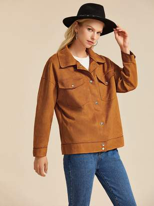 Shein Suede Flap Pockets Popper Front Coat