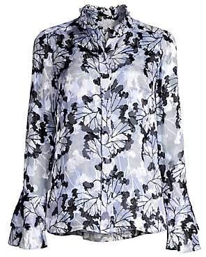 Elie Tahari Women's Teddi Floral Stretch Silk Blouse