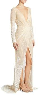 Berta Long-Sleeve Beaded Gown