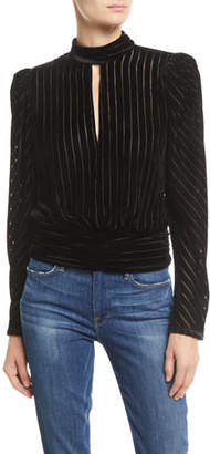 Frame Velvet High-Neck Striped Long-Sleeve Party Top