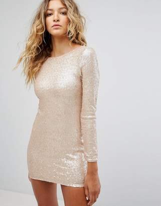 Club L Long Sleeve Plunge Back All Over Sequin Mini Dress