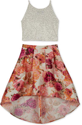 BCX Big Girls 2-Pc. Sequin Top & Floral-Print Skirt Set