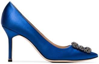 Manolo Blahnik blue hangisi 90 satin pumps