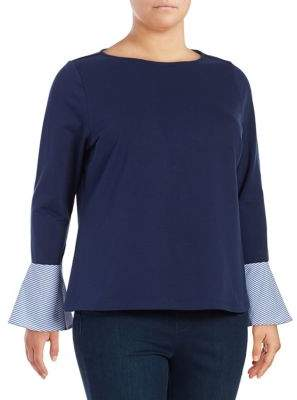 Lord & Taylor Plus Bell-Sleeve Top
