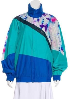 Burberry Reversible Tie-Dye Silk Shell Suit Jacket w/ Tags Turquoise Reversible Tie-Dye Silk Shell Suit Jacket w/ Tags