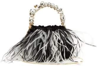 Rosantica By Michela Panero - Diana Feather Trimmed Velvet Clutch - Womens - Black Multi