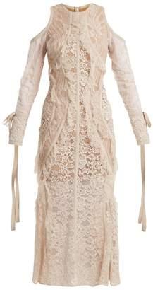 Elie Saab Fluted Hem Floral Lace Dress - Womens - Nude