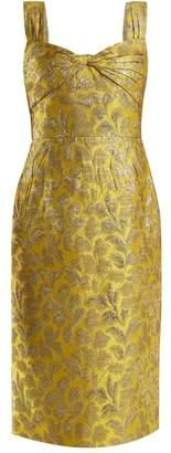 Prada Sweetheart Neck Floral Brocade Dress - Womens - Yellow