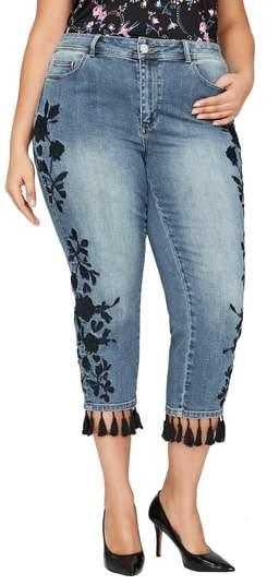 ADDITION ELLE LOVE AND LEGEND Embroidered Tassel Hem Slim Jeans