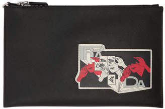 Prada Black Saffiano Comic Patch Pouch