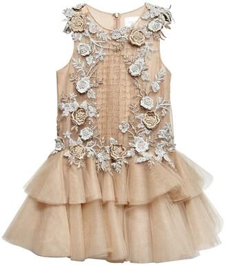Floral Embellished Tulle Dress