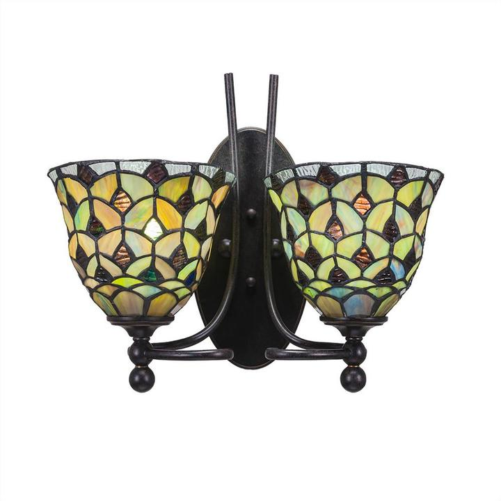 Cambridge Silversmiths Cambridge 2-Light Dark Granite Sconce with Crescent Tiffany-Style Glass