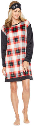 SLEEP CHIC Sleep Chic Long Sleeve Plaid Nightshirt