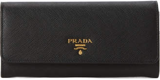 Prada Black & Gold-Tone Saffiano Leather Bi-Fold Long Wallet