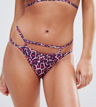 Missguided Leopard Print Caged Bikini Brief