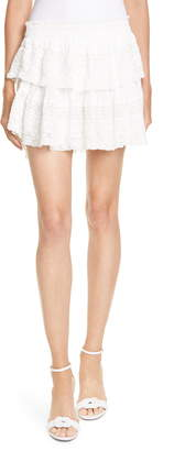LoveShackFancy Eyelet & Lace Trim Cotton Miniskirt