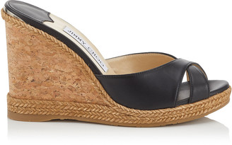 2890a5fec02a ... Jimmy Choo ALMER 105 Black Nappa Leather Sandal Mules with Braid Trim  Wedge