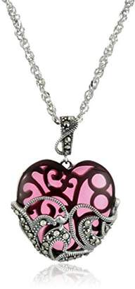 Glass Heart Sterling Silver Oxidized Genuine Marcasite and Garnet Colo Pendant Necklace
