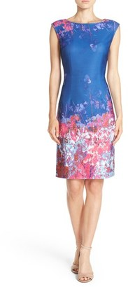 Women's Adrianna Papell Floral Border Print Scuba Sheath Dress $118 thestylecure.com