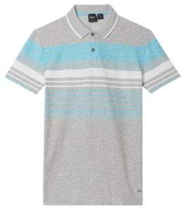 BOSS Hugo Cotton Linen Polo Shirt, Relaxed Fit Pilak XXXL Light Grey