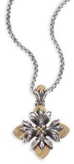 Konstantino Hebe 18K Yellow Gold& Sterling Silver Floral Cross Pendant Necklace